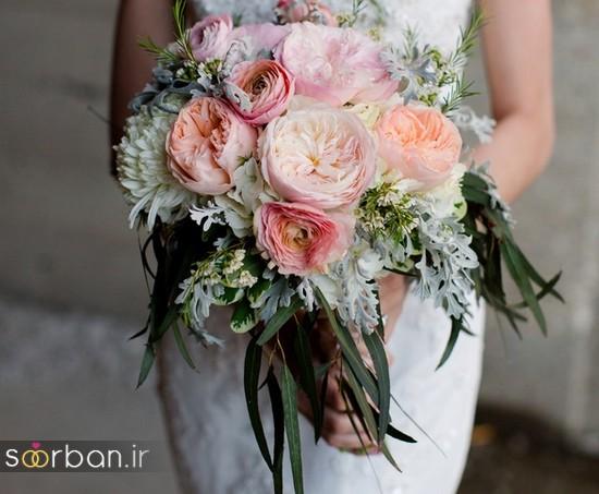 دسته گل عروس بهاری با گل های زیبا و رنگارنگ -3