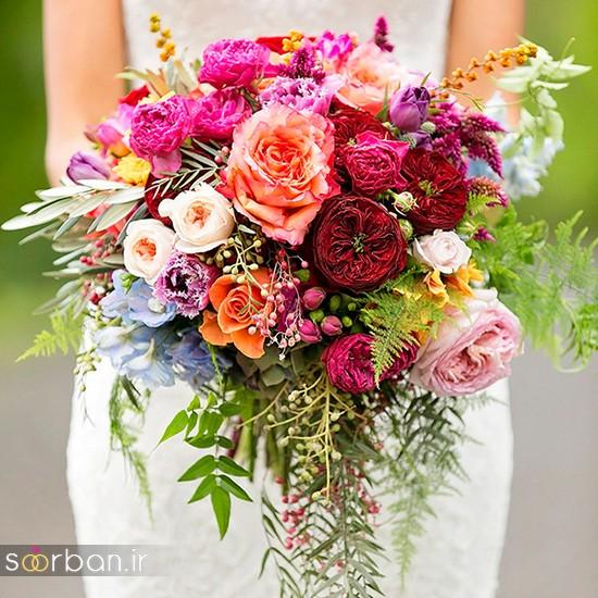 دسته گل عروس بهاری با گل های زیبا و رنگارنگ -7