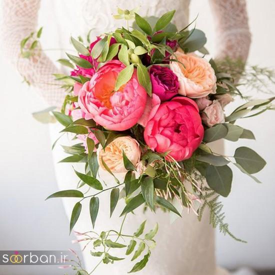 دسته گل عروس بهاری با گل های زیبا و رنگارنگ -9