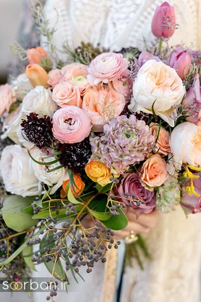 دسته گل عروس بهاری با گل های زیبا و رنگارنگ -10