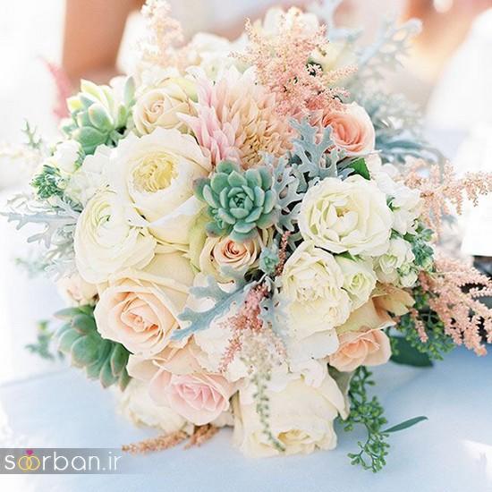 دسته گل عروس بهاری با گل های زیبا و رنگارنگ -12