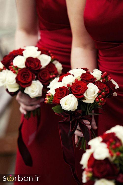 دسته گل عروس رز قرمز1