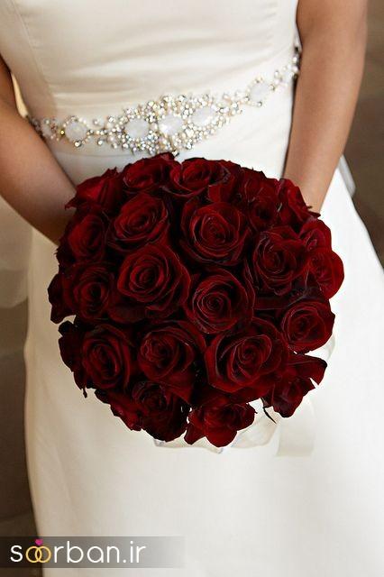 دسته گل عروس رز قرمز 2