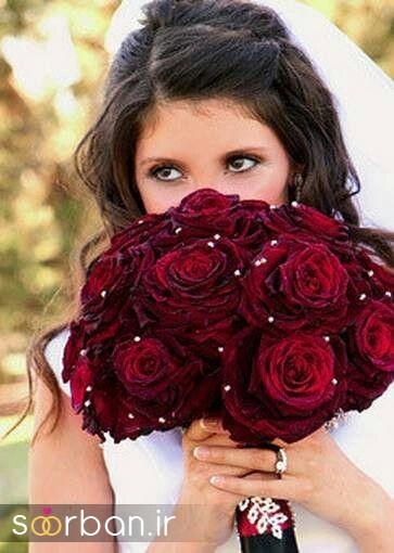 دسته گل عروس رز قرمز 3