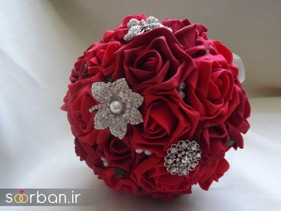 دسته گل عروس پارچه دسته گل عروس رز قرمز 5
