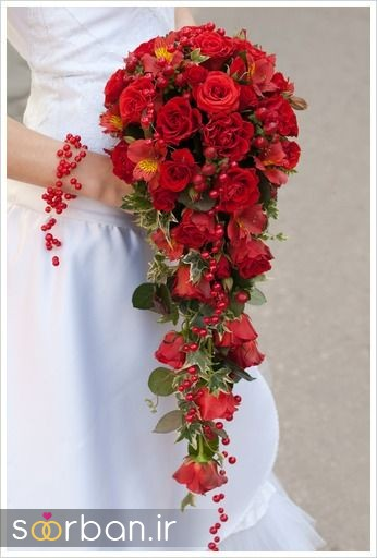 دسته گل عروس رز قرمز 6