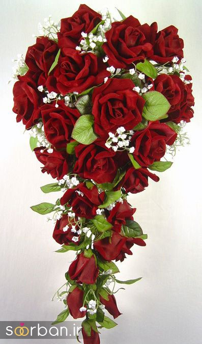 دسته گل عروس رز قرمز 9