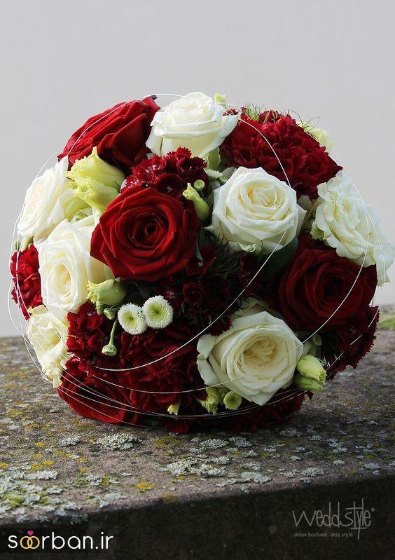 دسته گل عروس رز قرمز 10