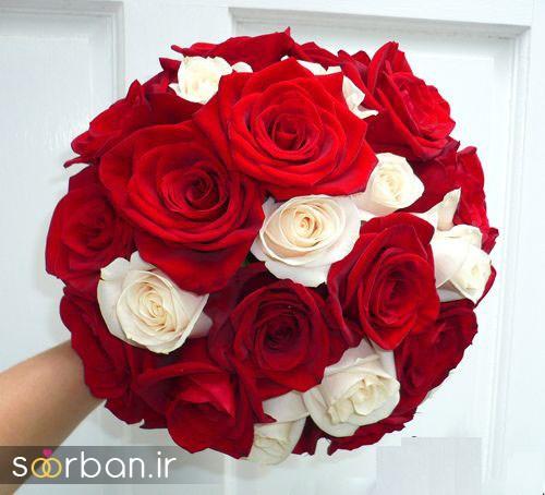 دسته گل عروس رز قرمز 13