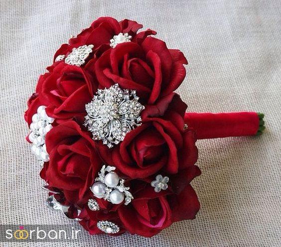 دسته گل عروس رز قرمز 15