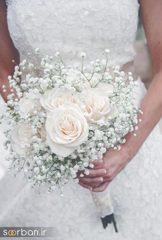 دسته گل عروس رز سفید1
