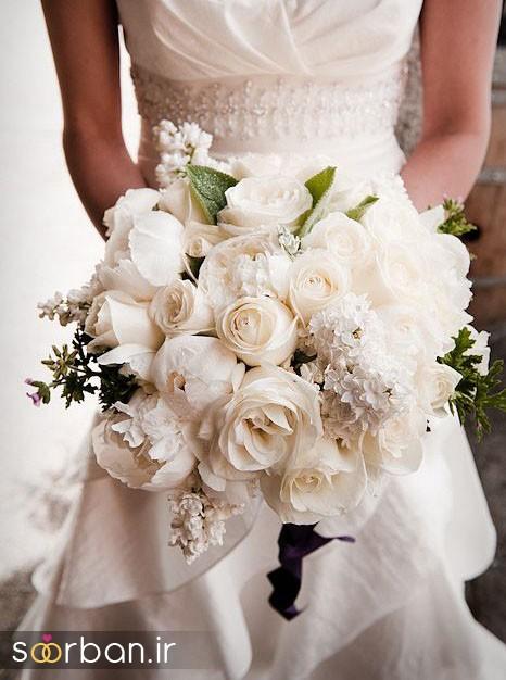 دسته گل عروس رز سفید2