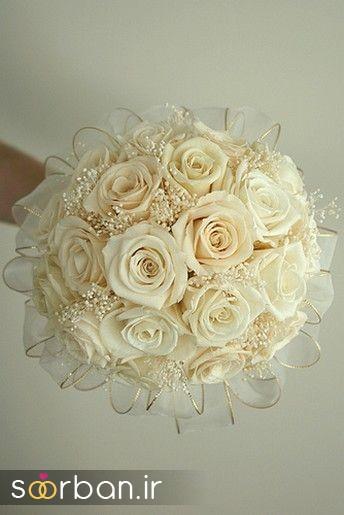 دسته گل عروس رز سفید3