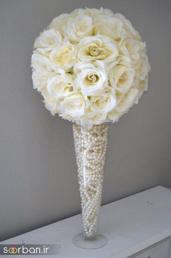 دسته گل عروس رز سفید4