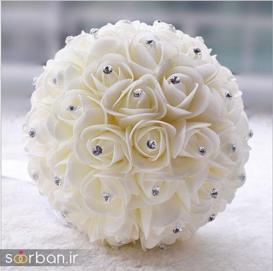 دسته گل عروس رز سفید8