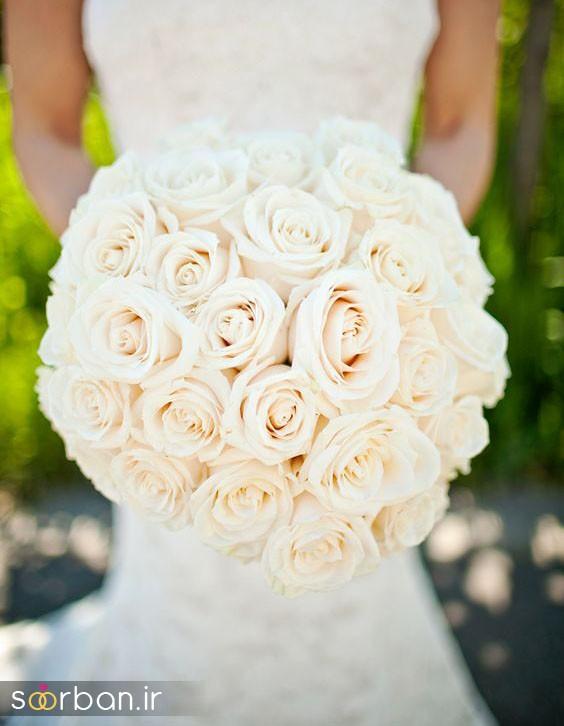 دسته گل عروس رز سفید11