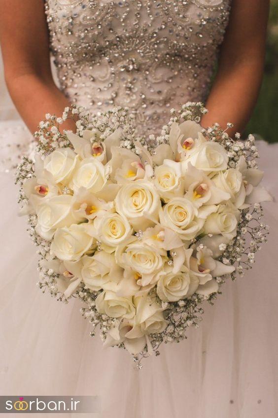 دسته گل عروس رز سفید12