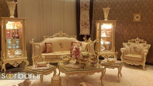 چیدمان جهیزیه عروس شیک با رنگ طلایی-10
