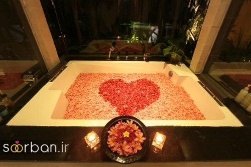 تزیین رمانتیک حمام عروس-1
