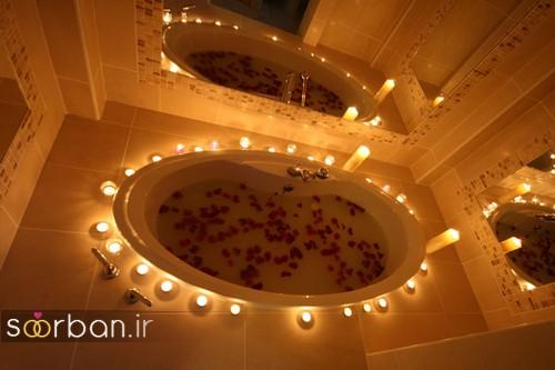 تزیین رمانتیک حمام عروس-8