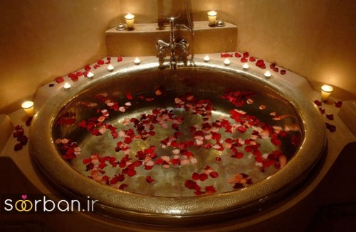 تزیین رمانتیک حمام عروس-9