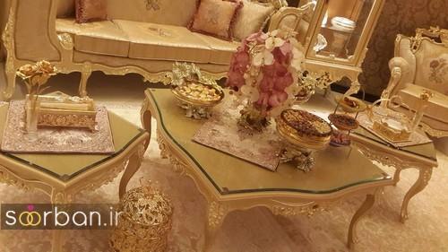 چیدمان پذیرایی خانه عروس کرم طلایی شیک و زیبا