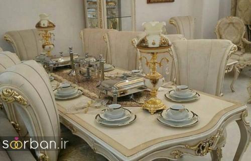 تزیین و چیدمان میز ناهار خوری جهیزیه عروس  با کمربند پاپیون