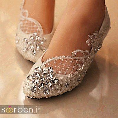 کفش عروس بدون پاشنه فوق العاده زیبا-1