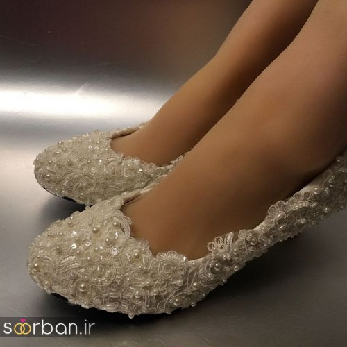کفش عروس بدون پاشنه فوق العاده زیبا-5