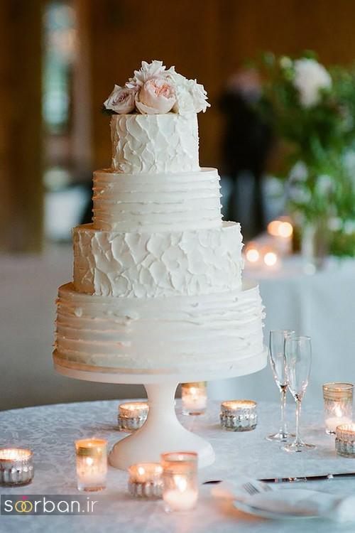 کیک عروسی با روکش خامه ساده وشیک