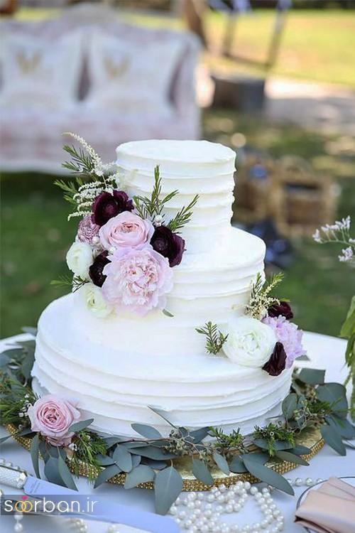 کیک عروسی جدید سفید با روکش خامه