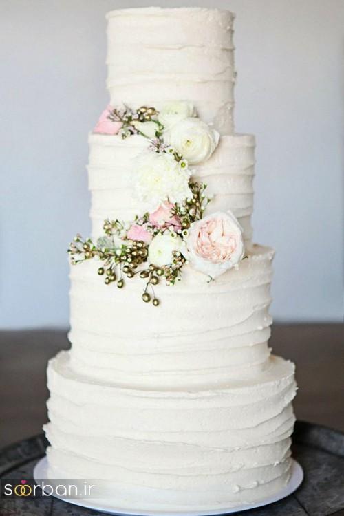 عکس مدل کیک عروسی با روکش خامه و گل رز