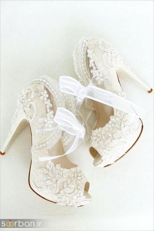 کفش عروس سفید بسیار شیک-6