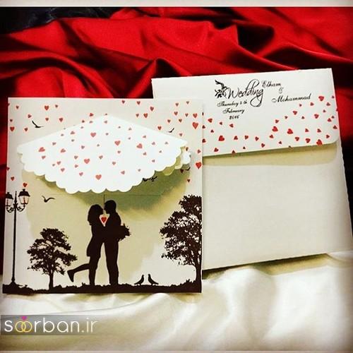 کارت عروسی با طرح قلب و به شکل چتر