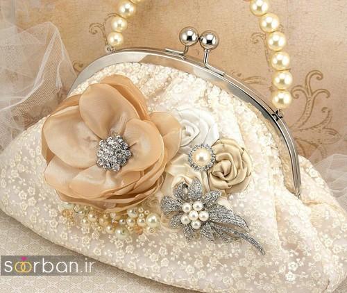 کیف عروسی 2017 با تزیین گل و مروارید