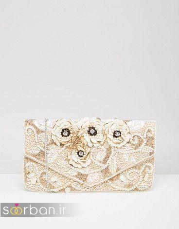 کیف عروس کرمی با گل