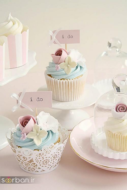 کاپ کیک عروسی 2017 با تزیین خامه و گل