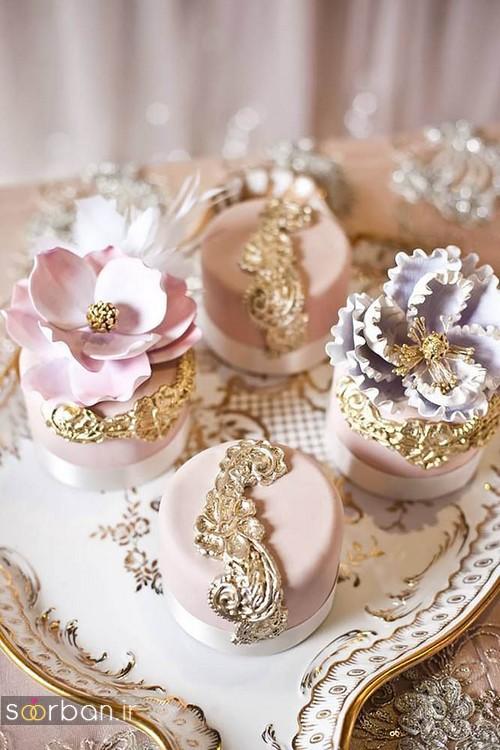 کاپ کیک عروسی 2017 طلایی