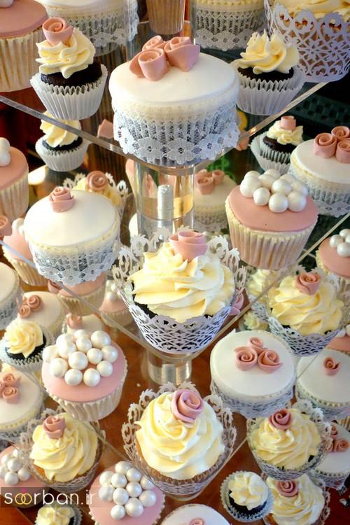 کاپ کیک عروسی 2017 ظریف با تزیین مروارید