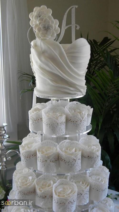 کاپ کیک جدی عروسی سفید 2017