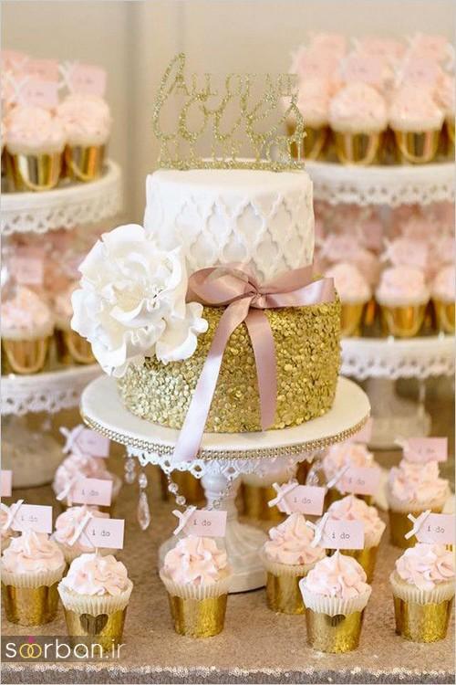 کاپ کیک طلایی عروسی طریف