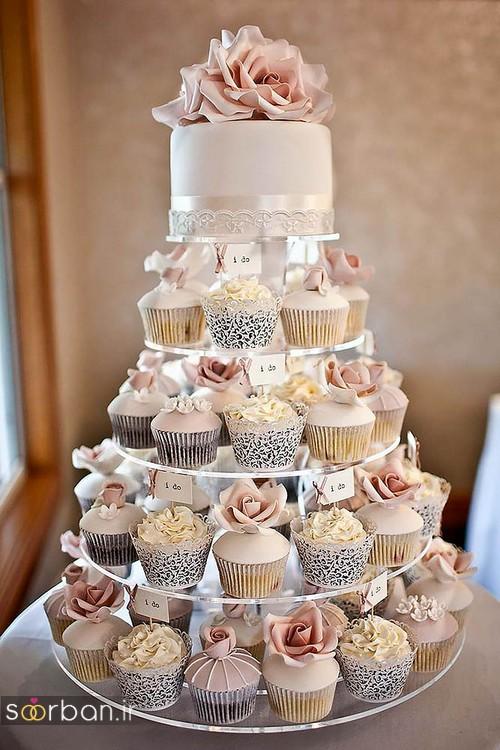 کاپ کیک عروسی با گل رز