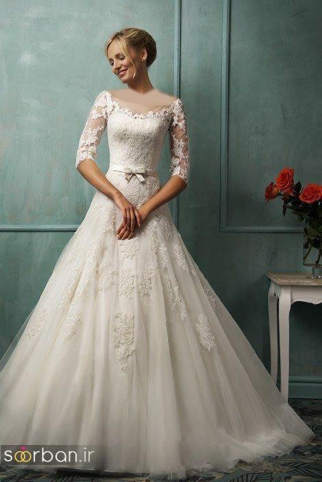 لباس عروس آستین سه ربع با کمربند پاپیون