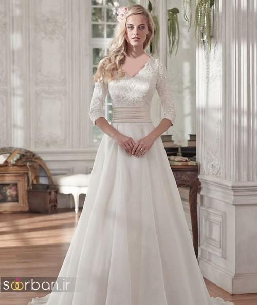 لباس عروس آستین سه ربع0