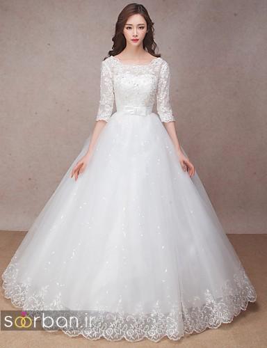 لباس عروس مدل آستین سه ربع پفی