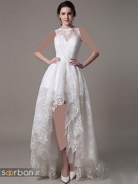 لباس عروس جلو کوتاه پشت بلند با تور دانتل