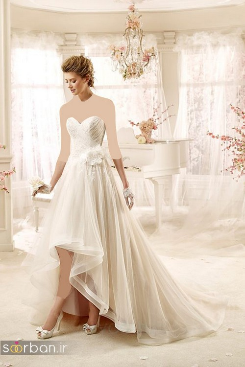 لباس عروس جلو کوتاه پشت بلند با گل صورتی و زرد