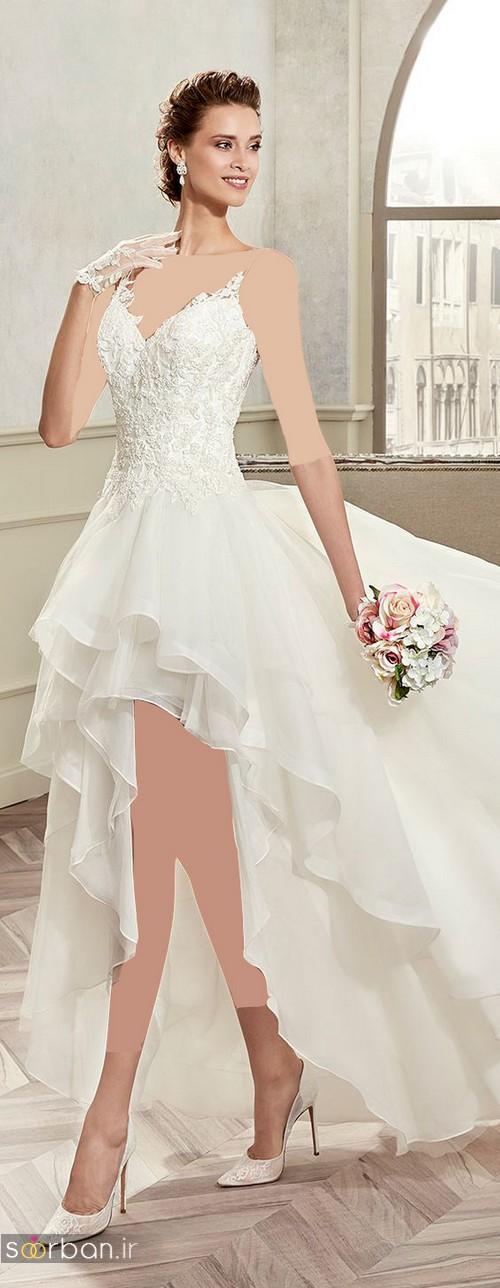 مدل لباس عروس جلو کوتاه پشت بلند چین دار 2017