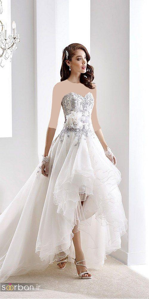 عکس مدل لباس عروس جلو کوتاه پشت بلند پفی دکلته با کمربند و گل