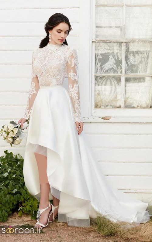 عکس لباس عروس جلو کوتاه پشت بلند آستین دار 2017